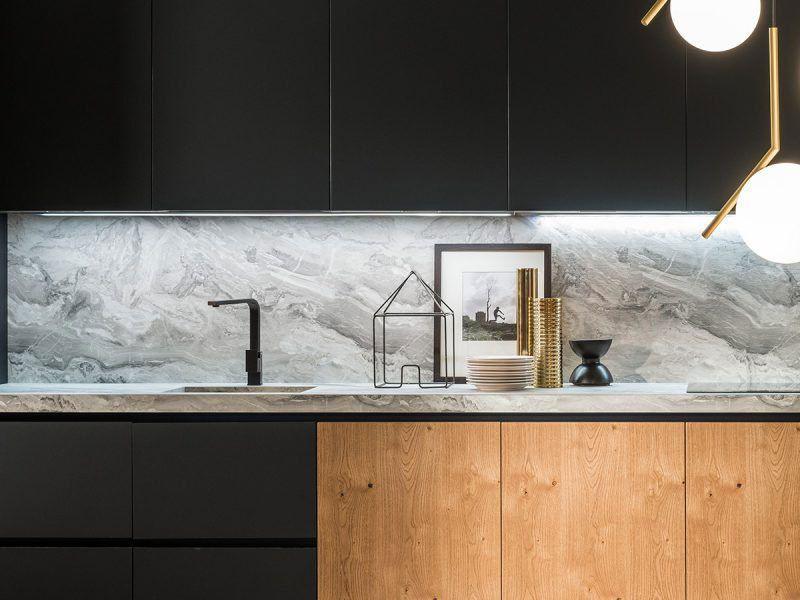 Eiken Met Zwart En Marmer Natuursteen Design Keuken Maatwerk