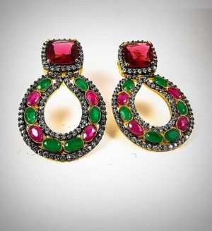 Pink & green stone studded earrings