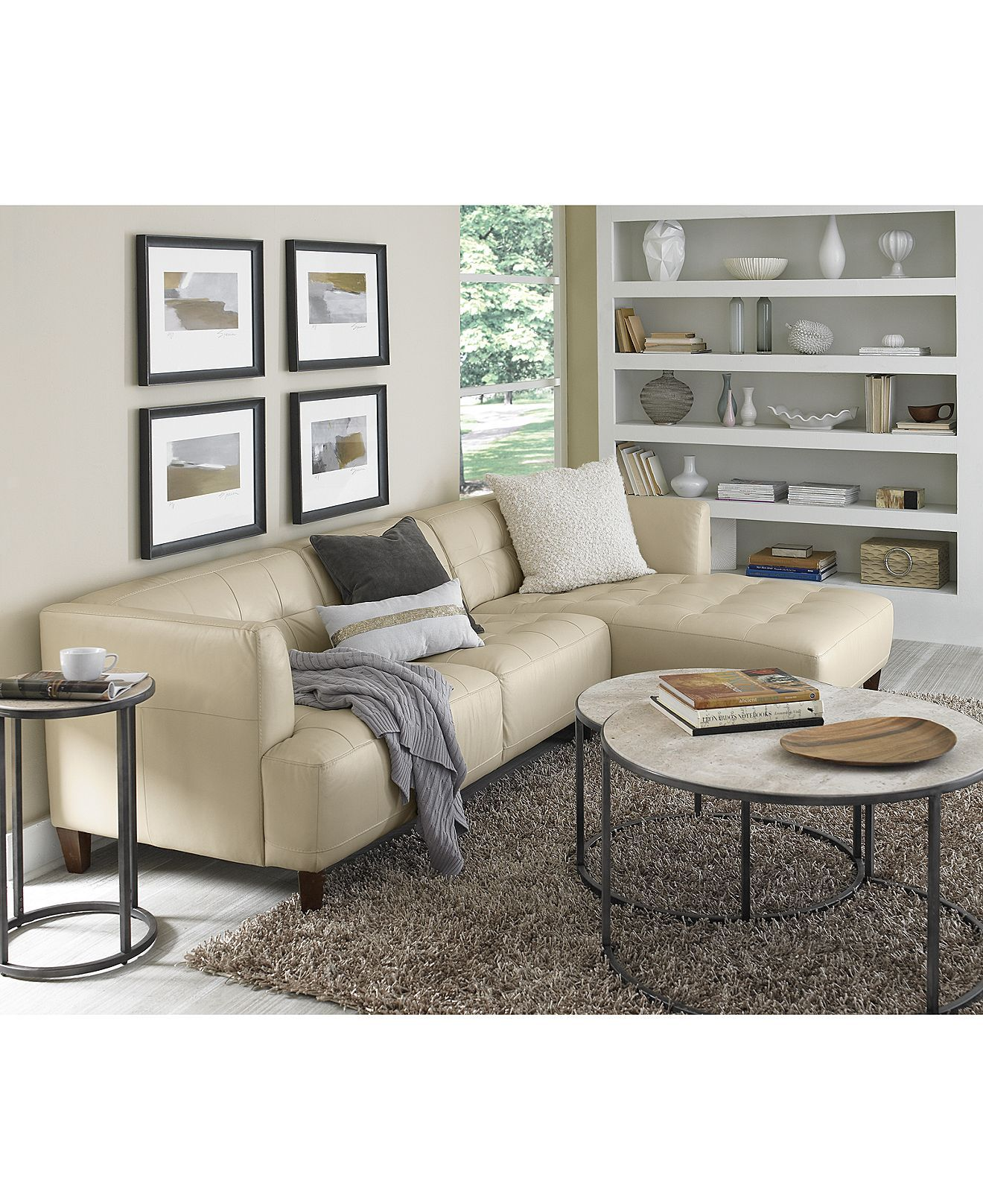 Alessia Leather Sectional Living Room Furniture Sets Pieces