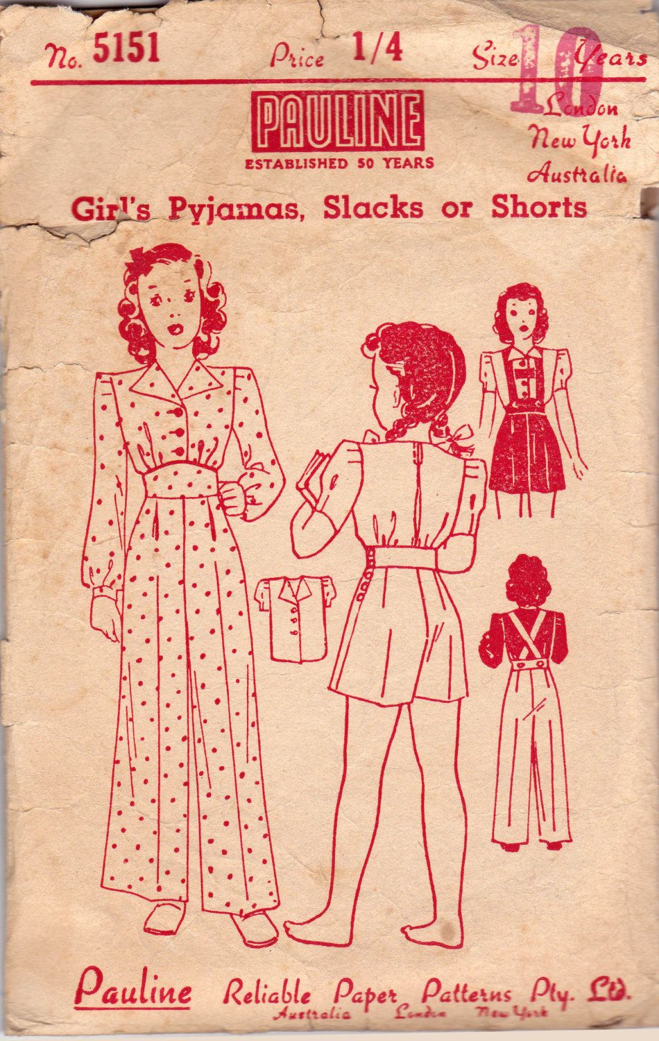 40s Girls Blouse Pants Shorts Overalls By Allthepreciousthings