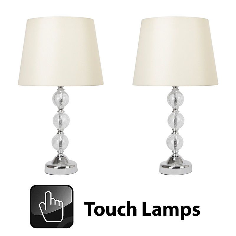 Pair of Chrome & Crackle Glass Touch Bedside Table Light Lamp Cream Faux Silk
