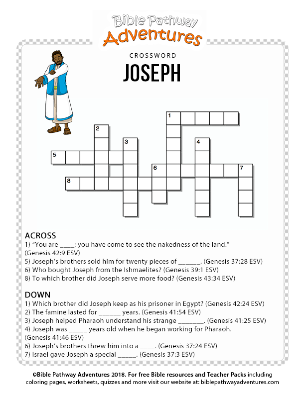 image regarding Printable Sunday Crossword Puzzle known as Joseph crossword puzzle for young children Printable bible crossword