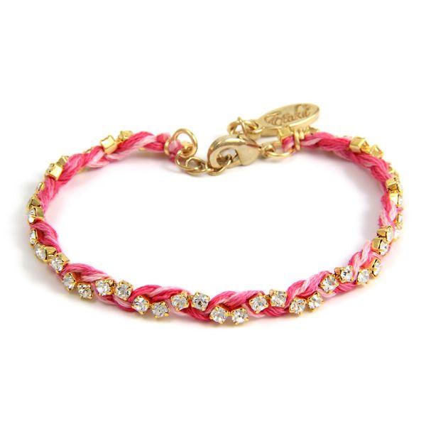Gold Rhinestone Crystal and Multi Pink  Friendship Thread Braided Bracelet