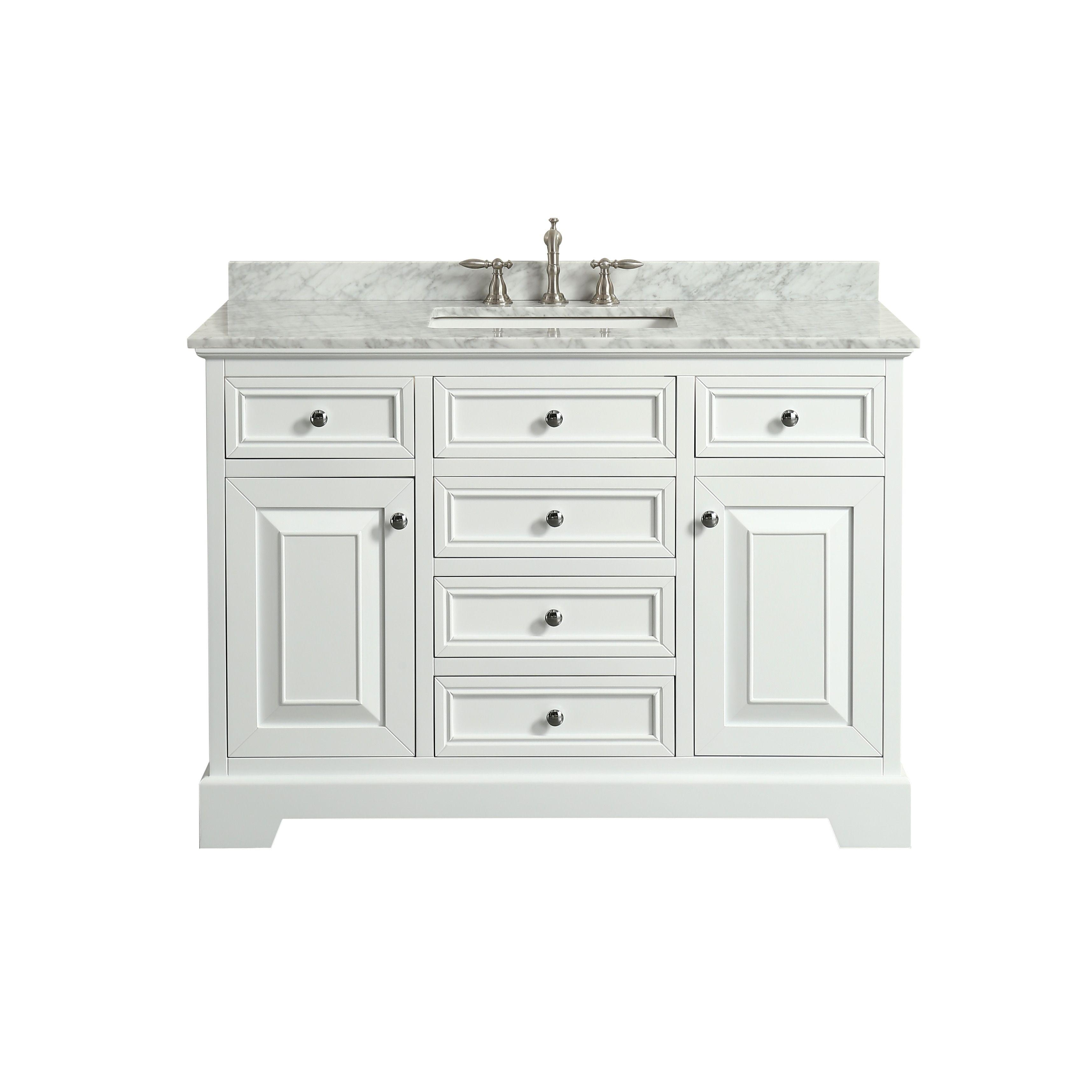 Eviva Monroe 48 In Bathroom Vanity With Carrara Marble Top