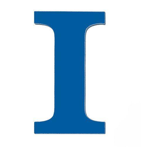 wooden letter i hanging initials color royal blue