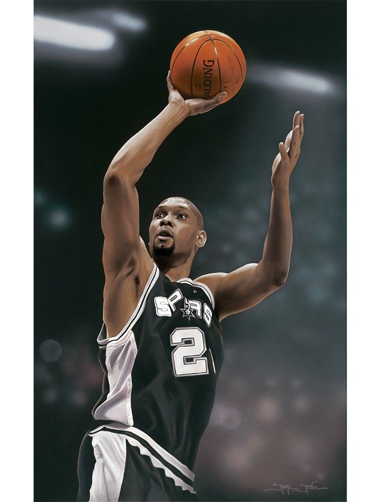 tim duncan by shane stover an original acrylic painting on canvas