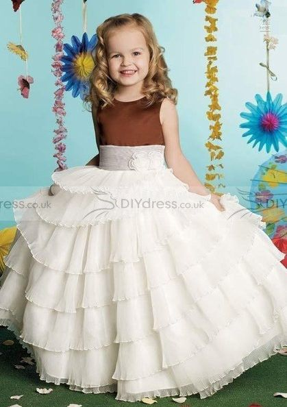 Perfect A-Line Bateau Flowers Layered Floor-Length Flower Girl Dresses $164.99 Flower Girls and Junior Bridesmaid Dresses