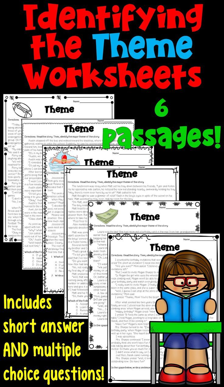 Identifying the Theme Worksheet Packet! These 6 worksheets focus on  analyzing the theme of a literary passag…   Reading themes [ 1269 x 736 Pixel ]