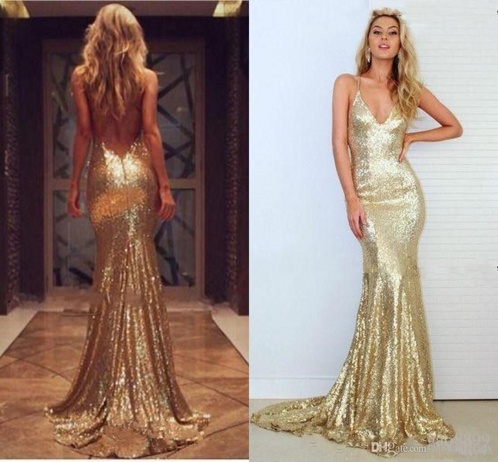 6adef92640c Gold 2018 Sequin Evening Dresses Split Side Backless Prom Dresses Plus Size  Long Mermaid Sequined Bridesmaid
