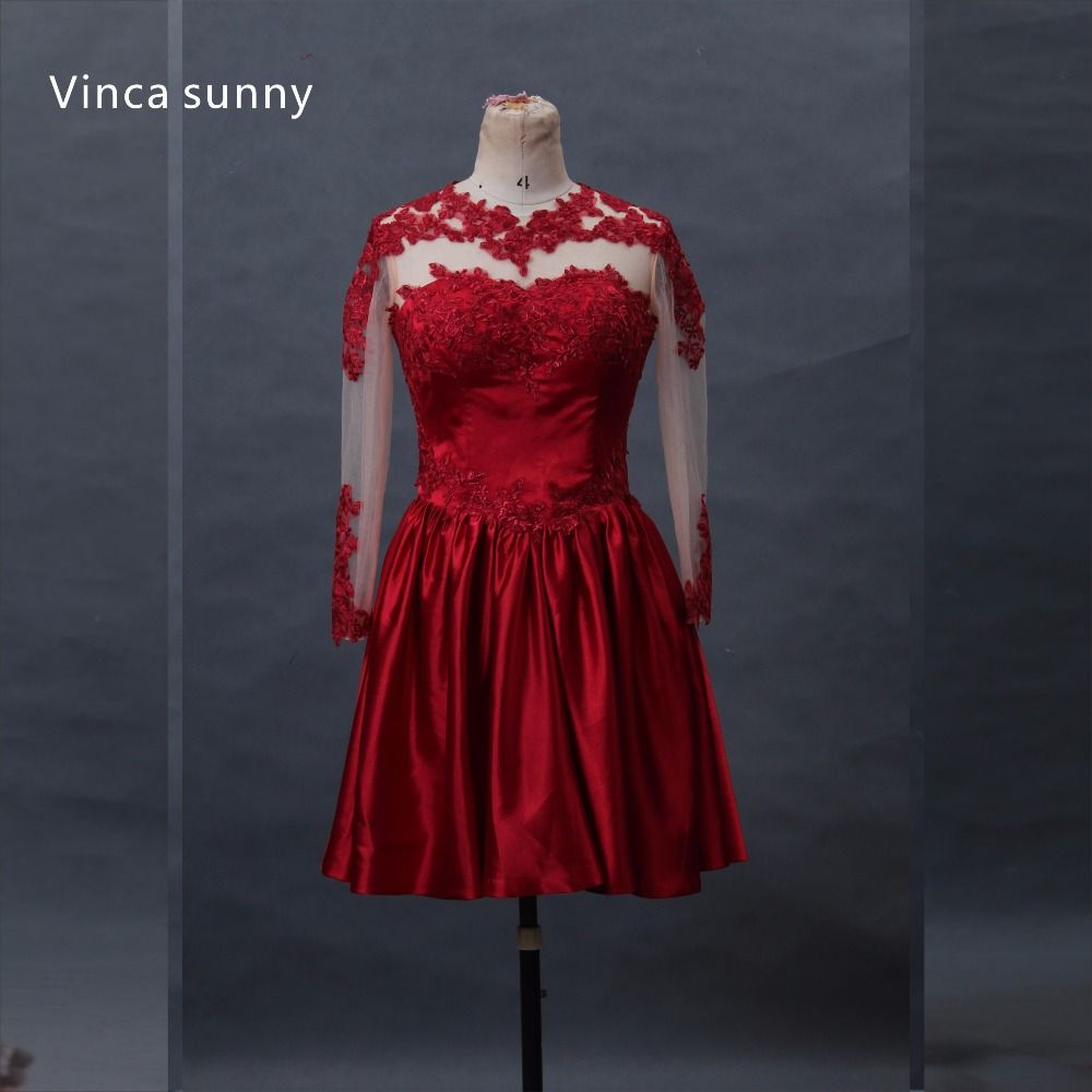 Click to buy ucuc vinca sunny sheer back lace prom dress knee