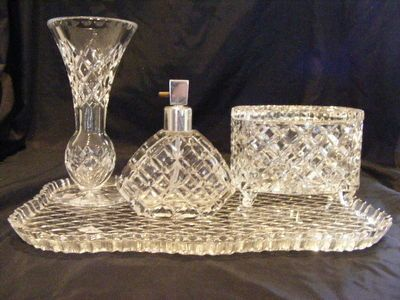 Vintage 4 Piece Crystal Dressing Table Set - Tray. Perfume Bottle ...