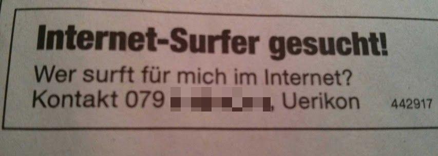 Internet-Surfer gesucht!