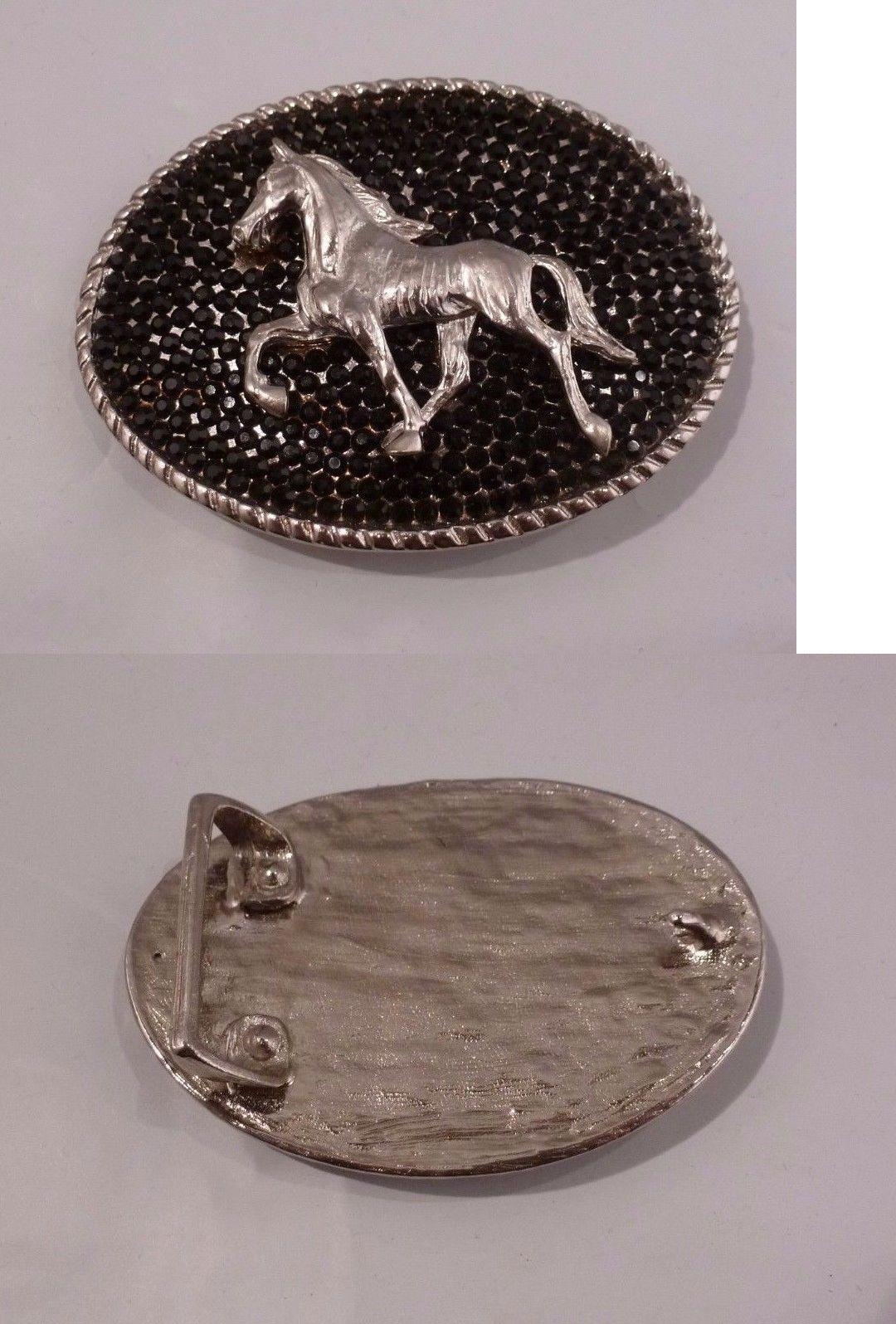 Belt Buckles 163573: Rhinestone Cowgirl Black Crystal Silver Horse Western Belt Buckle -> BUY IT NOW ONLY: $35 on eBay!
