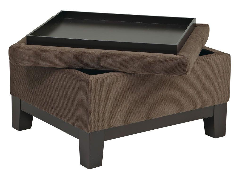 Walnut Fabric - Espresso Finish Wood Legs Storage Ottoman Reversible Tray Top