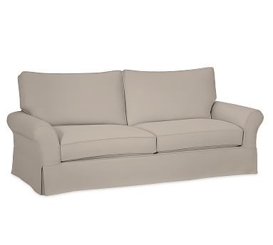 Pb Comfort Roll Arm Slipcovered Sofa 81 Ter Back Memory Foam Cushions Brushed Crossweave Charcoal