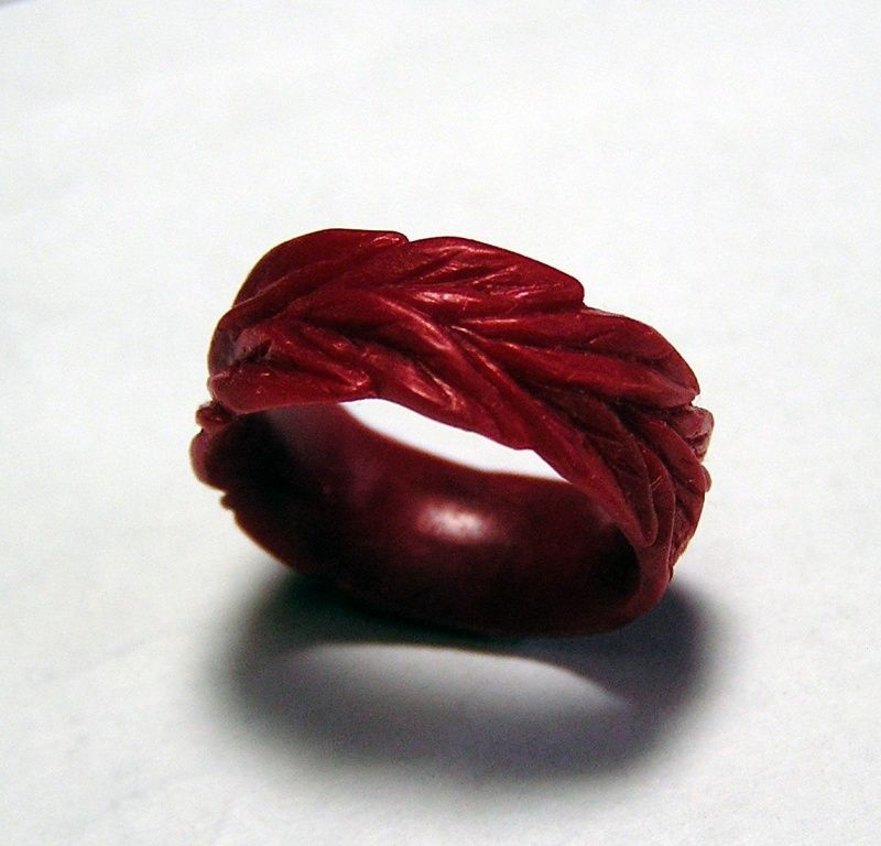Wax carving of leafy wedding ring for him that