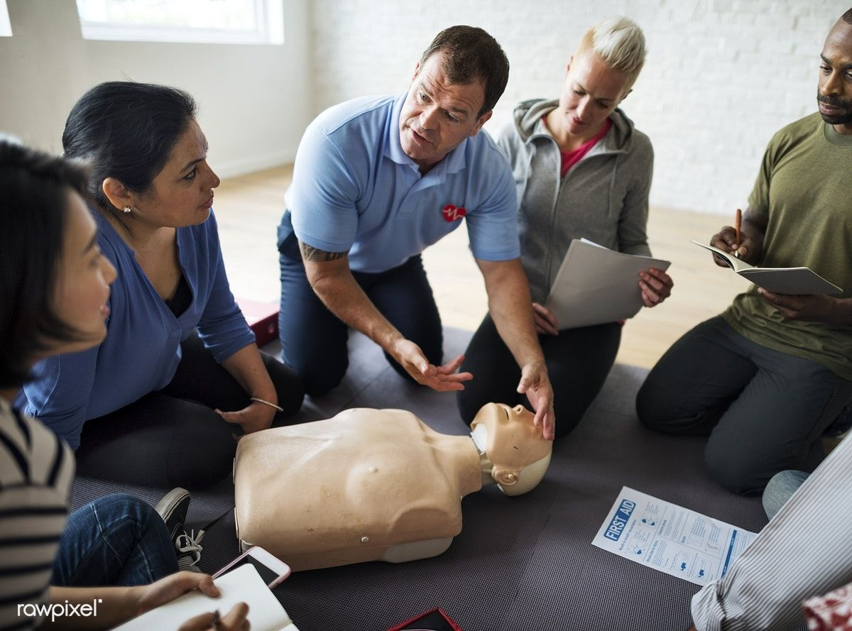 Download premium image of CPR first aid training class 107131 | Cpr training,  Training classes, Child cpr