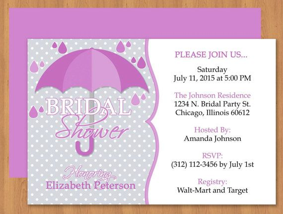 Purple Umbrella Bridal Shower Invitation  Editable Template