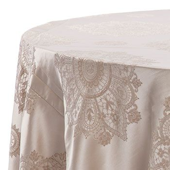 Party Rental Limited    Reception Tables    Rondure Ivory Damask Linen: 60  Inch