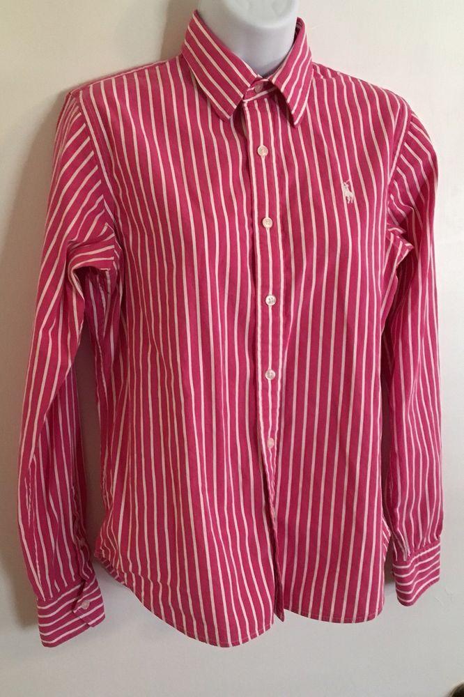 297d862fde3 Polo Ralph Lauren Sport Womens Pink Striped Shirt Size 8 Long Sleeve Button  Down