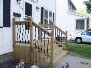 Built New Front Steps Ripped Out Old Brick Steps And Replaced Them With New Wooden Ones It Was A Really Fun Projec Front Porch Steps Brick Steps Front Stairs