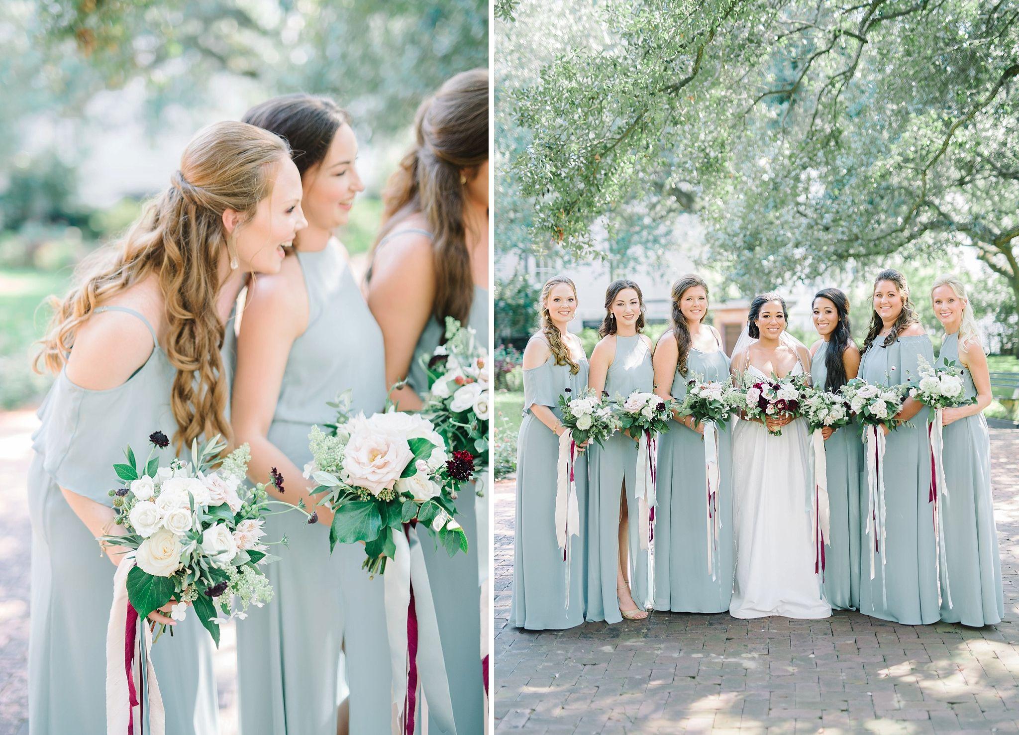 6 bridesmaids in dusty blue Show Me Your Mumu bridesmaid dresses ...