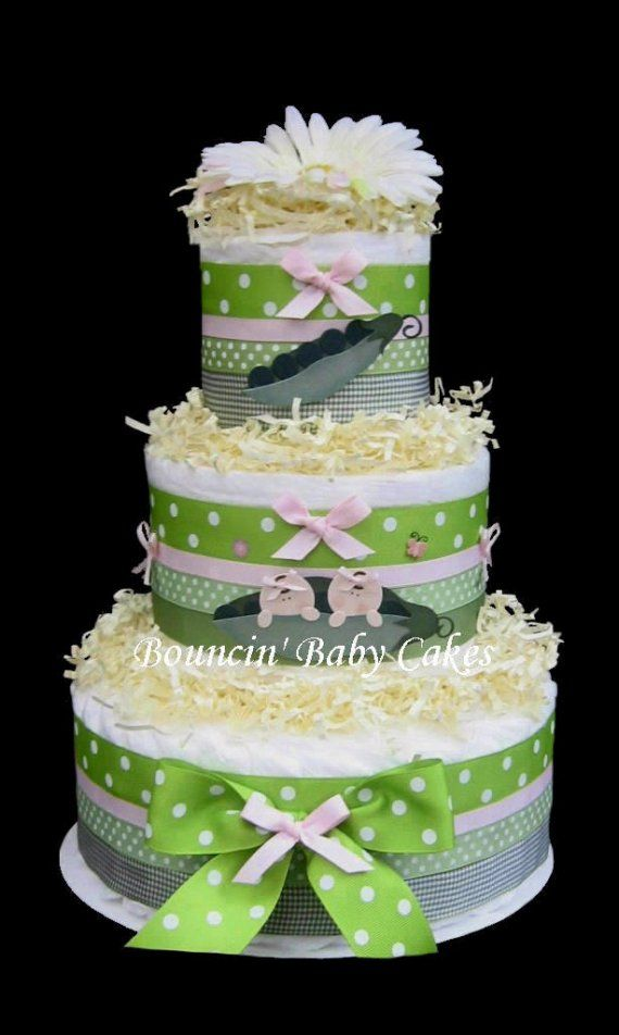 Girl Twins  Two Peas in a Pod Baby Shower Diaper Cake/ by tmomma4, $69.99