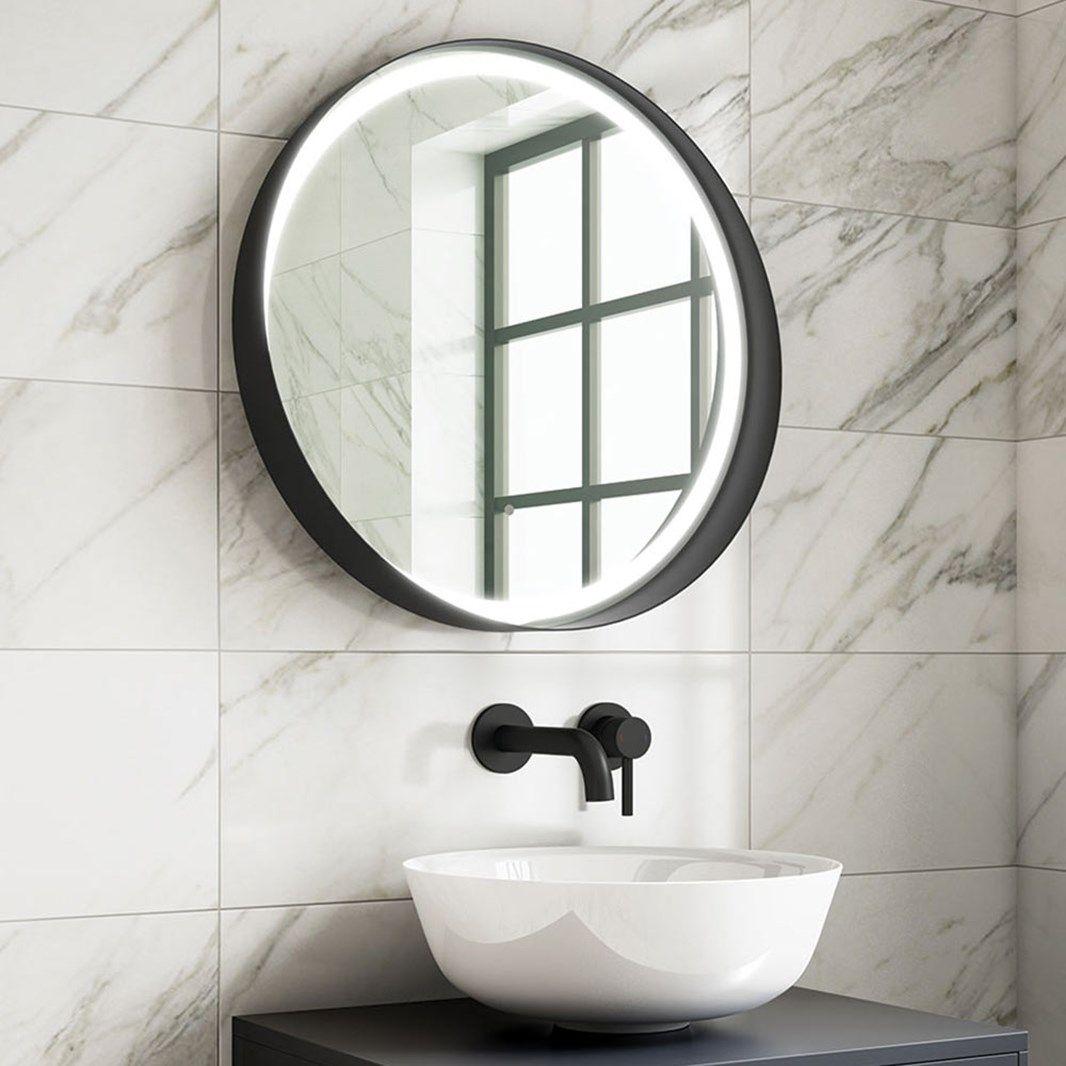 Harbour Status Led Illuminated Black Frame Round Mirror With Demister Pad Colour Change Leds In 2020 Black Round Mirror Black Mirror Frame Round Mirrors