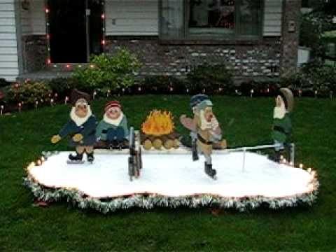 Christmas Yard Display Skating Elves In Motion