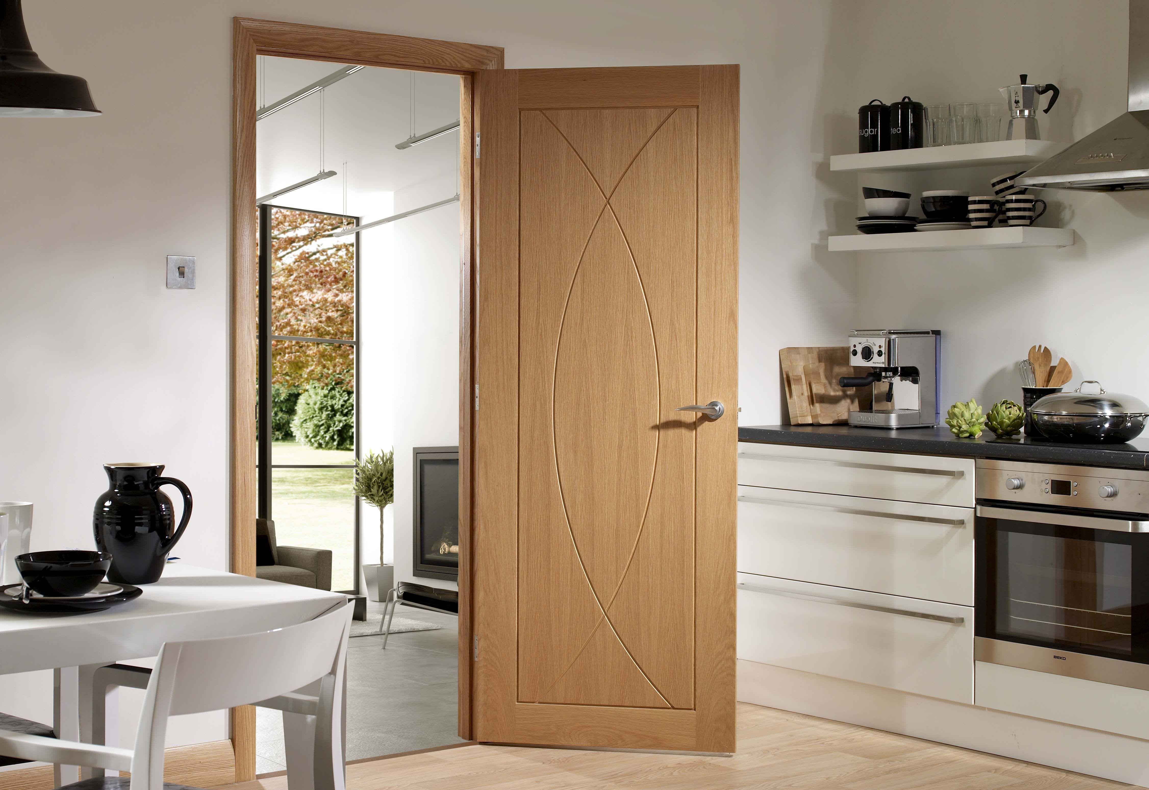 Modern oak unpolished swing interior door design with floating shelf