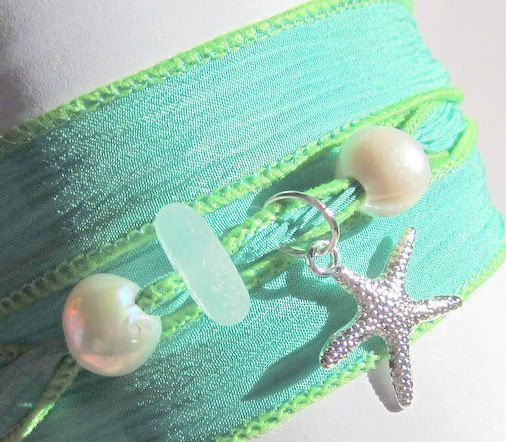 Silk Wrap Bracelet Seaglass Beach by GardenLeafDesign on Etsy, $20.00
