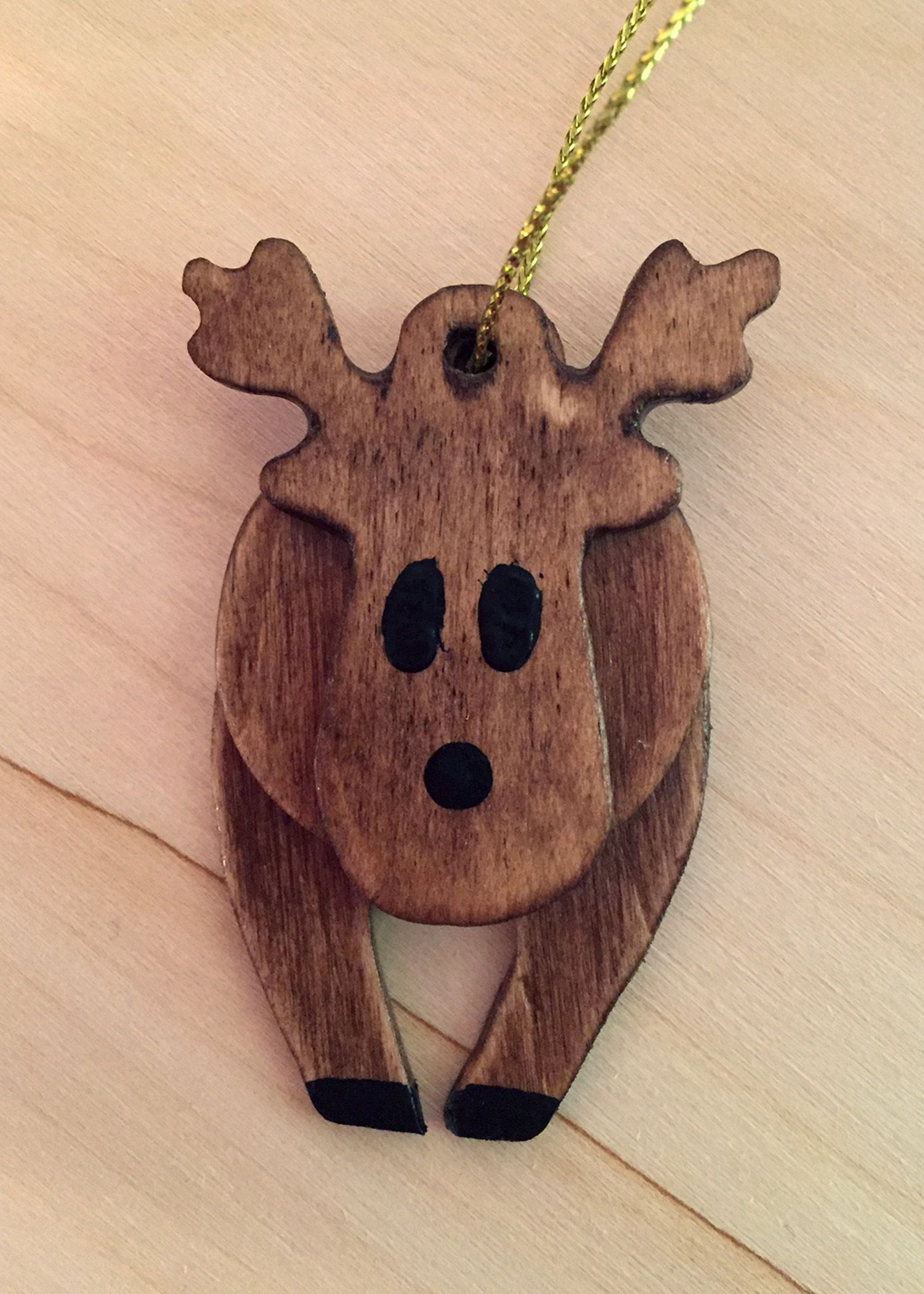 3d Reindeer Ornament Made Out Of Stained Balsa Wood How To Make Ornaments Wood Jewelry Diy Balsa Wood Crafts