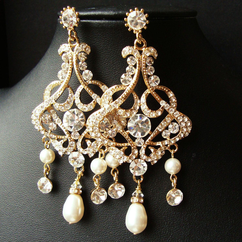 Gold Chandelier Bridal Wedding Earrings Statement Vintage Style Rhinestone