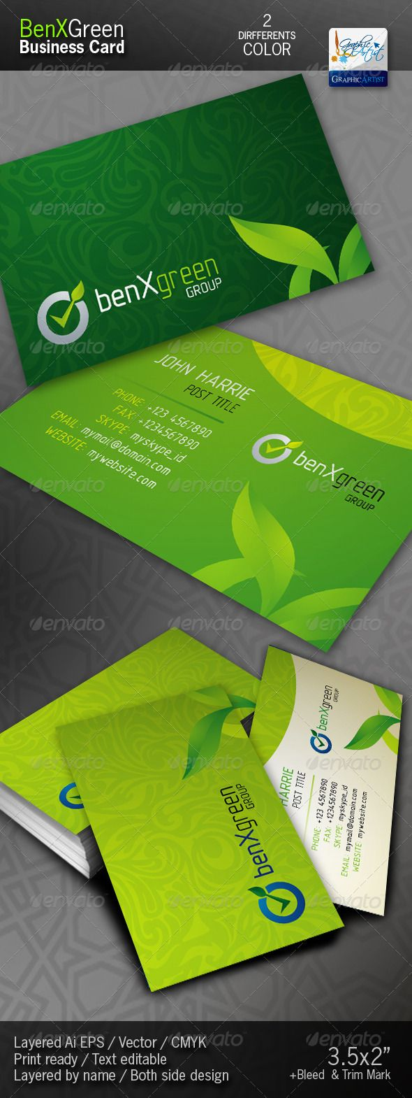 """BenXGreen Corporate Business Cards  #GraphicRiver            File Information >3.5×2"""" print dimension >with Bleed + Trim Mark >Illustrator EPS >CMYK >Print ready >Text editable >Both side design with 2 Differents color   >Free fonts links included inside in help file. If you like, please rate this…  Do You Need Professional Custom Design? I am available for freelance work. Contact me if you are interested! Please feel free to contact me when you encounter problems or have questions!  …"""