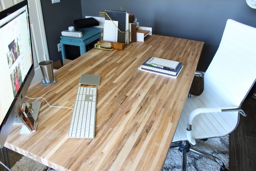 Diy Butcher Block Desk Butcher Block Desk Diy Wood Desk Wood