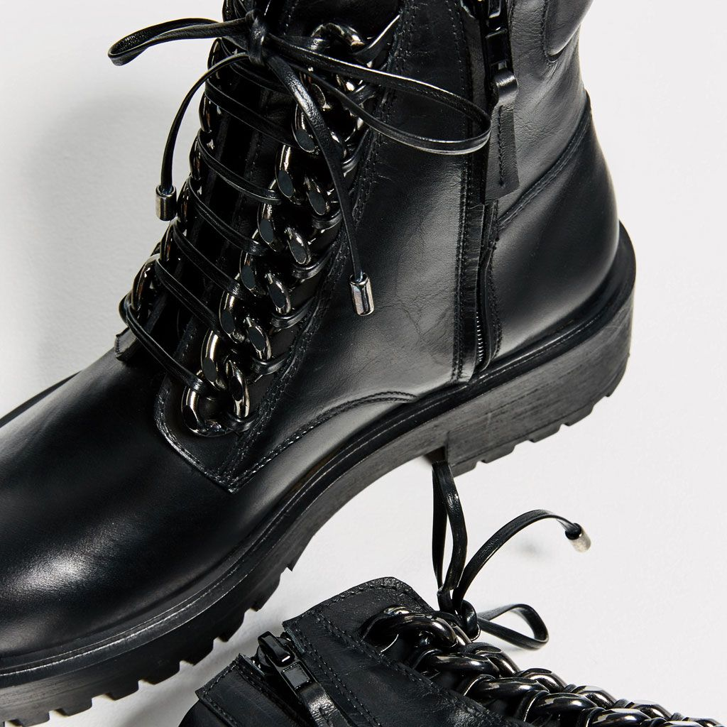 f9adf3f3f Image 4 of CHAIN DETAIL LEATHER ANKLE BOOTS from Zara