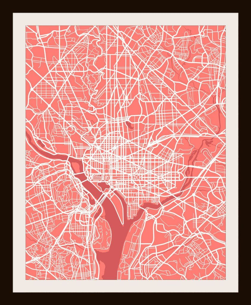 "Washington Dc Wall Art washington d.c. city print map artmap wall art 11"" x 14"" 