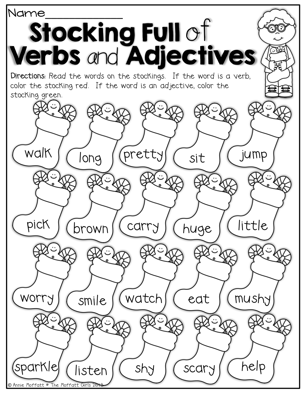 The Moffatt Girls: Winter Math and Literacy Packet (First Grade)   Nouns  and verbs [ 1325 x 1024 Pixel ]