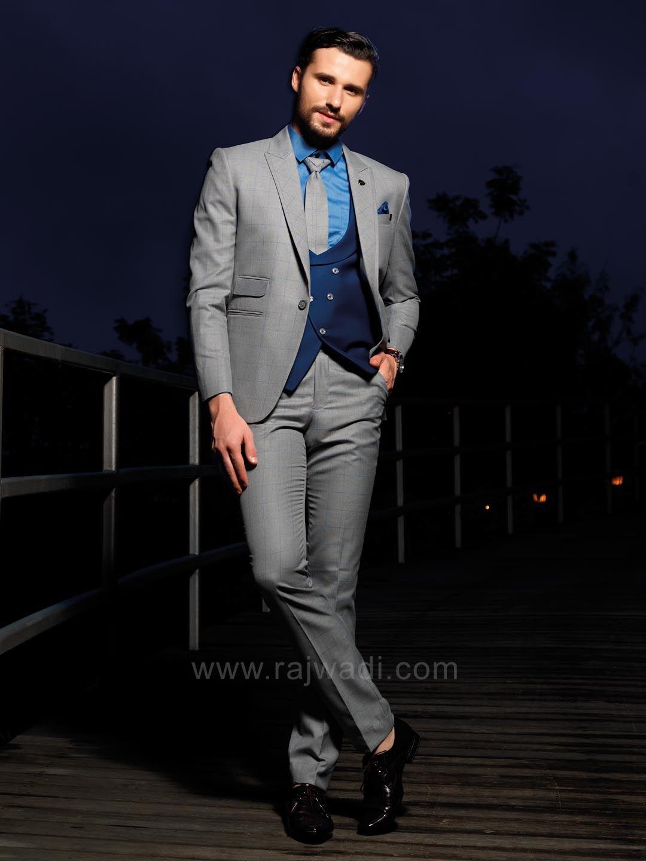 Stylish grey color terry rayon suit for wedding rajwadi