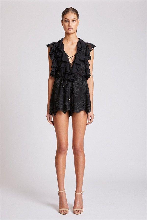 5a02f1db4bf Shona Joy - Antigua Lace Up Drawstring Playsuit - Black