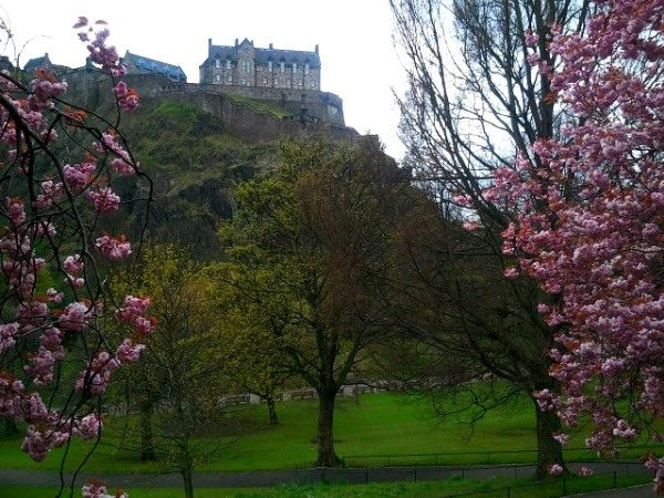 Edinburgh Castle Through The Cherry Blossom Edinburgh Castle Castles To Visit Scotland Castles