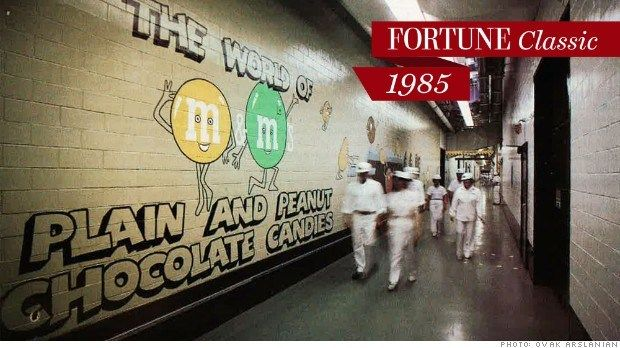 Mars, workers in hard hats and white coveralls scurry through the M&M's factory in Hackettstown, New Jersey