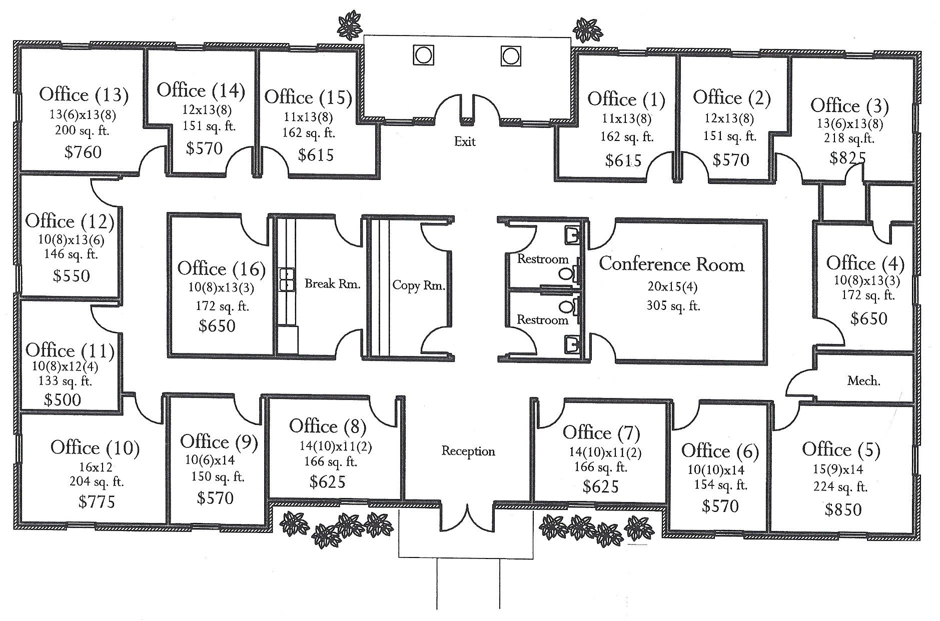 Floor plan for small medical office evstudio architect for Two story office building plans