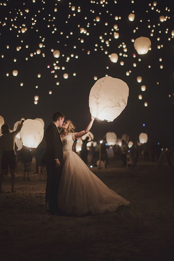 lantern release guest and bride and groom photo