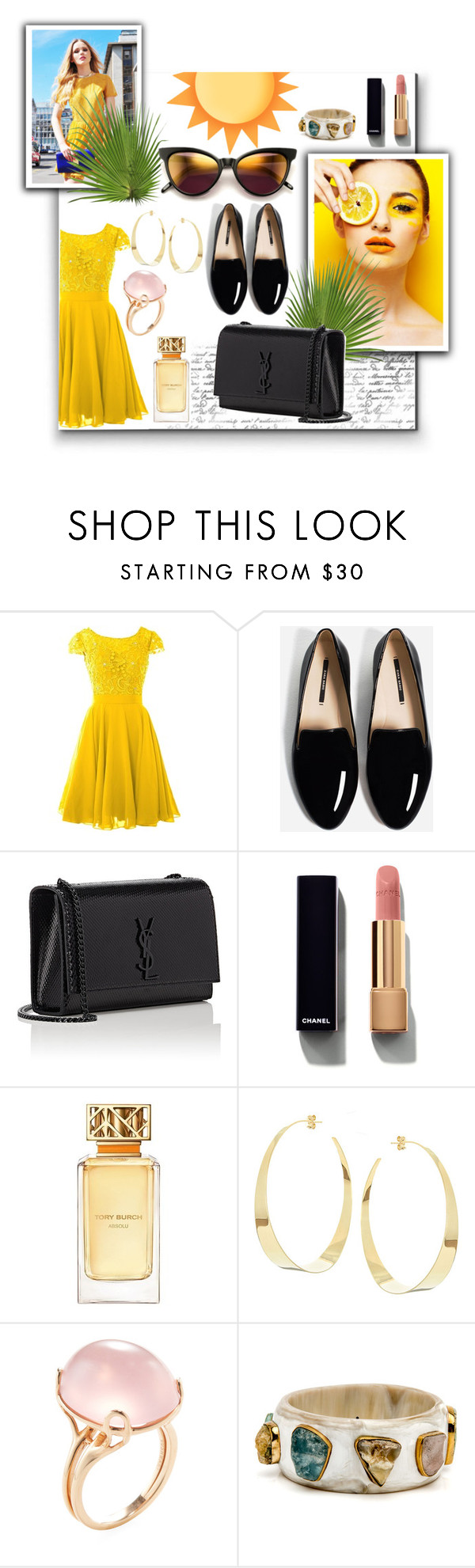 """yellow sun"" by siristorh ❤ liked on Polyvore featuring Yves Saint Laurent, Chanel, Tory Burch, Lana and Goshwara"