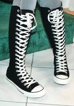 2014 knee high converse sneaker boots, black converse high