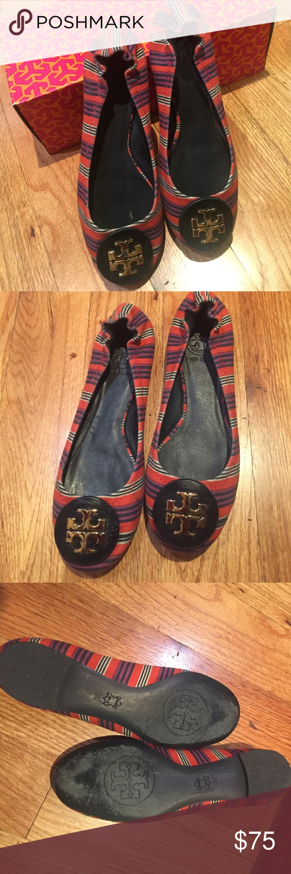 Tory Burch Ballet Flats Updated in rich printed multicolored canvas canvas, with a non-elastic back, and finished with a signature gold double-T logo, this slip-on-and-go style is the epitome of effortless chic. Lightly worn 3x's mint condition. Tory Burch Shoes Flats & Loafers