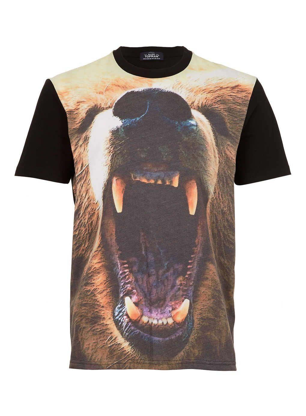 Black t shirt topman - Black Bear Head Print T Shirt Printed T Shirts Topman