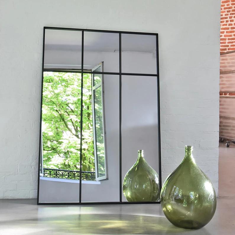 Miroir Rectangulaire Atelier Verriere Xxl Noir L 105 X H 150 Cm En 2020 Miroir Atelier Decorer Un Couloir Miroir Rectangulaire