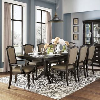 Lasalle espresso pedestal extending table dining set by for Inspire q dining room chairs